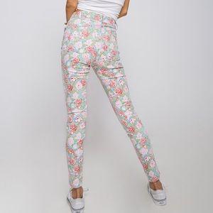 Motel Rocks Pants - MOTEL- Floral Skinny Jeans